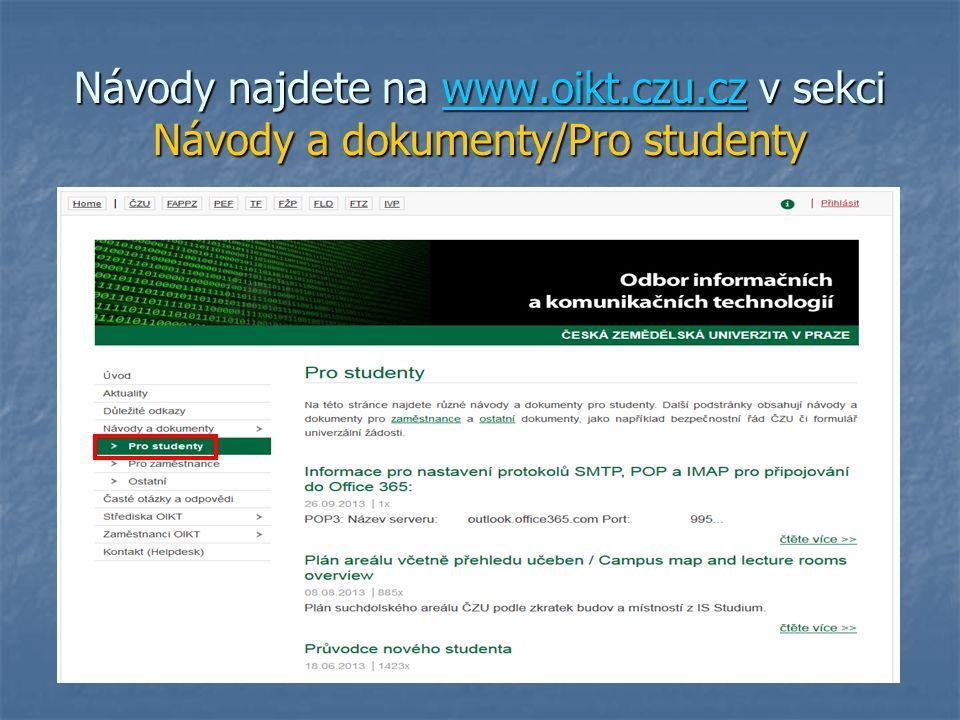 Návody najdete na www. oikt. czu