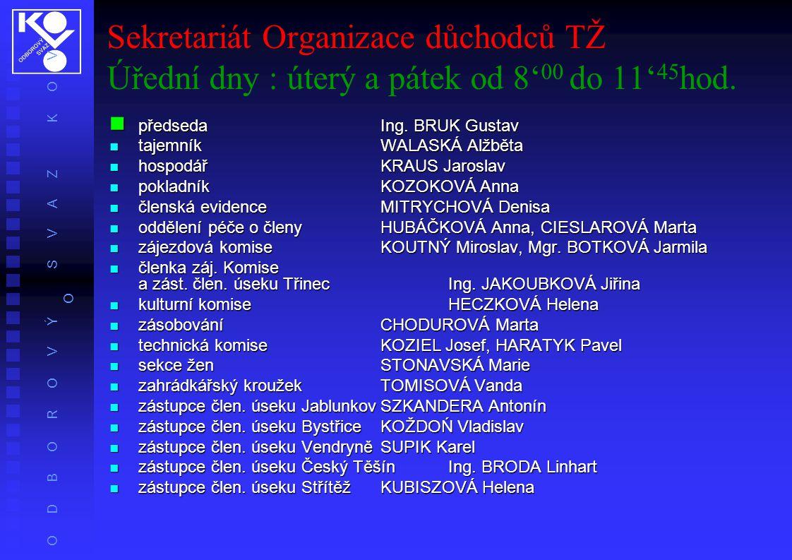 Sekretariát Organizace důchodců TŽ Úřední dny : úterý a pátek od 8'00 do 11'45hod.