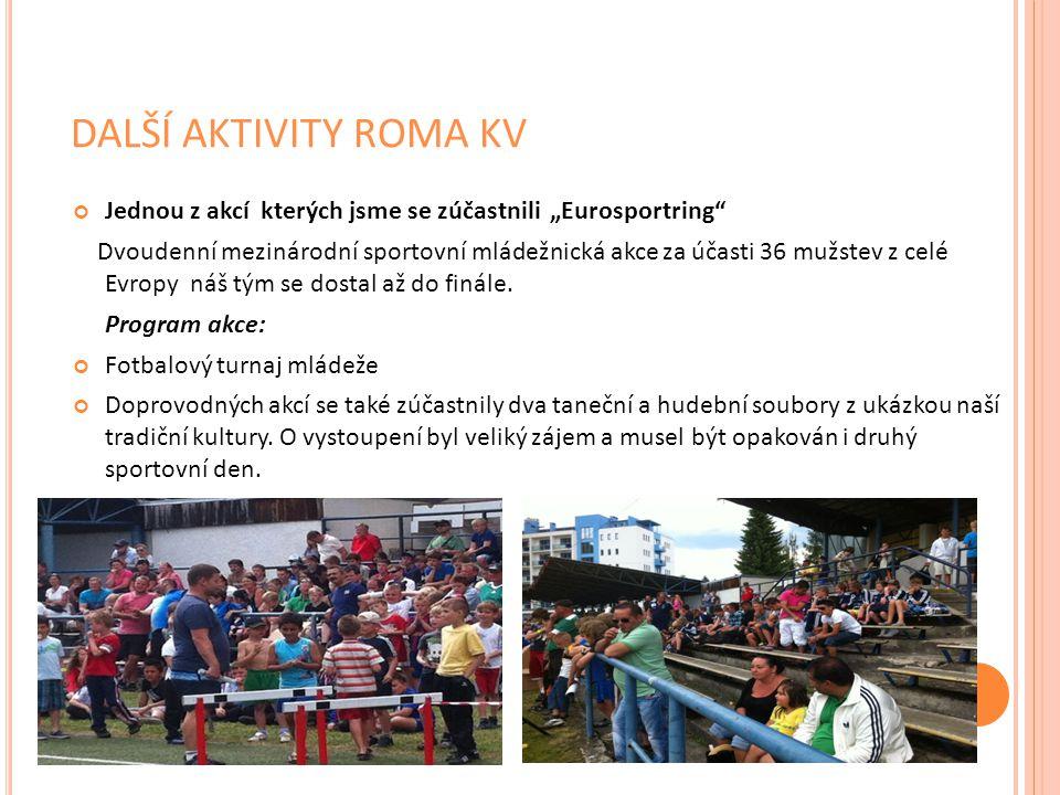 """DALŠÍ AKTIVITY ROMA KV Jednou z akcí kterých jsme se zúčastnili """"Eurosportring"""