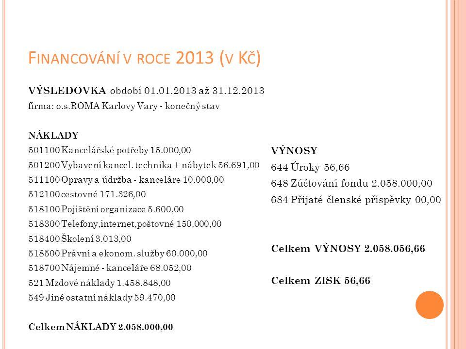 Financování v roce 2013 (v Kč)
