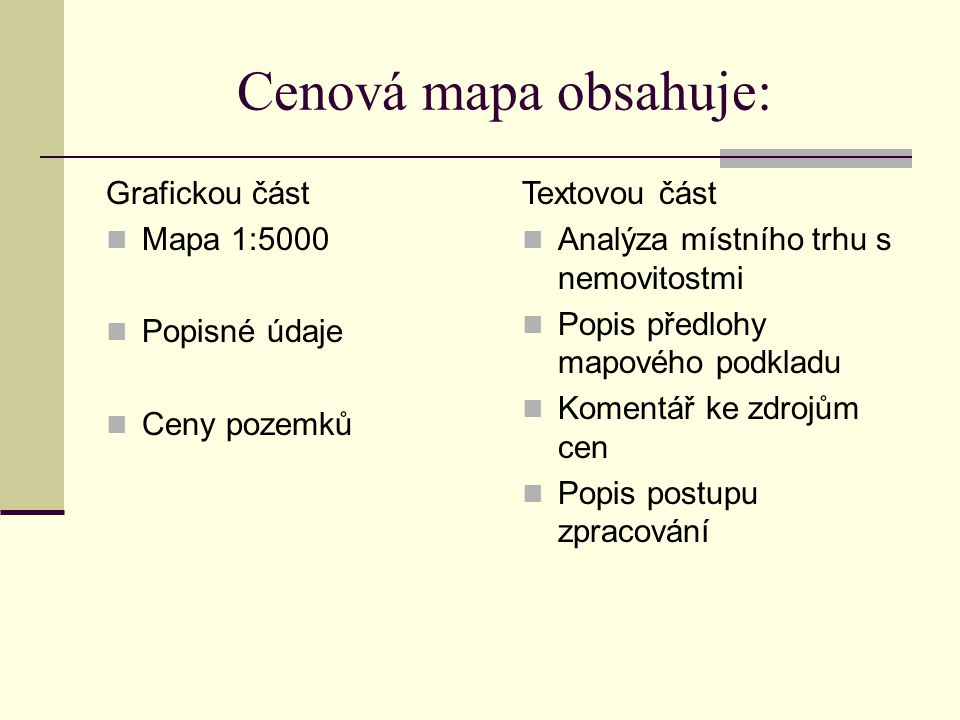 Cenová mapa obsahuje: Grafickou část Mapa 1:5000 Popisné údaje