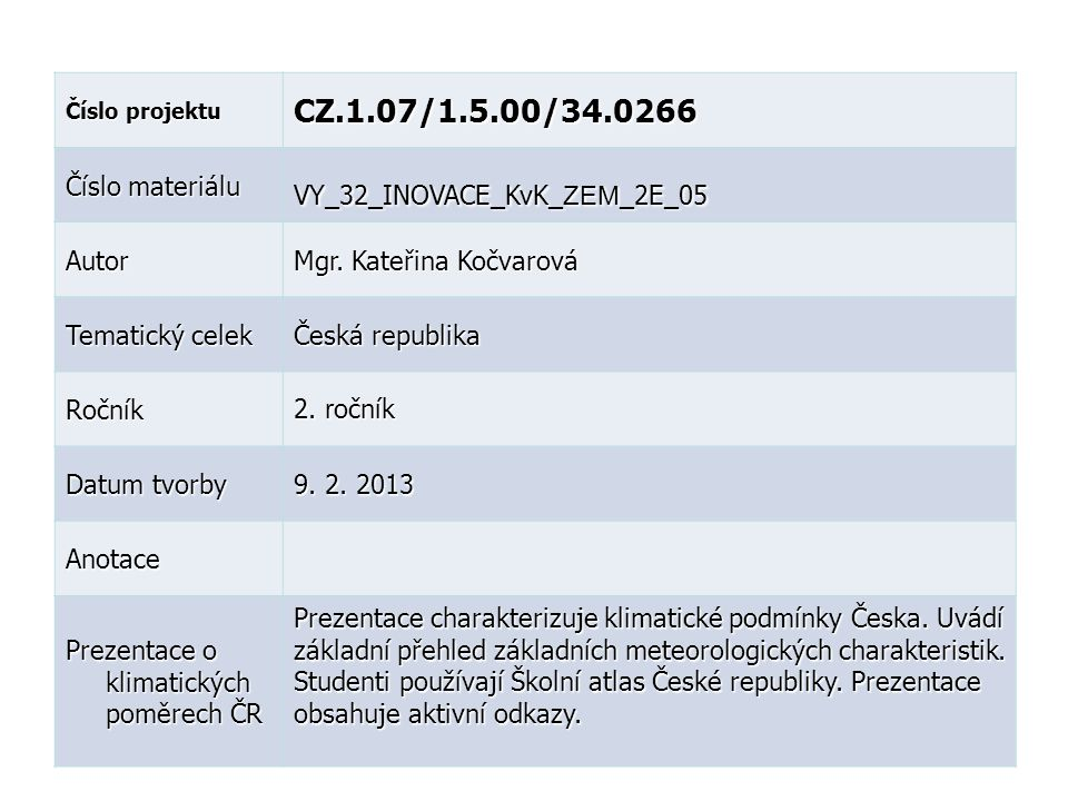 CZ.1.07/1.5.00/34.0266 Číslo materiálu VY_32_INOVACE_KvK_ZEM_2E_05