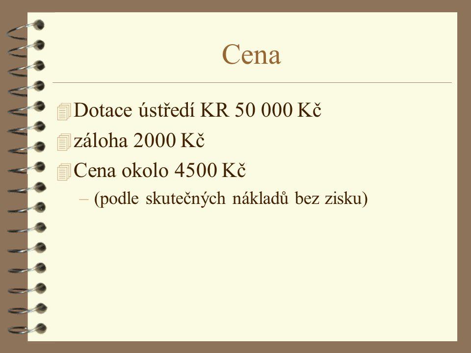 Cena Dotace ústředí KR 50 000 Kč záloha 2000 Kč Cena okolo 4500 Kč