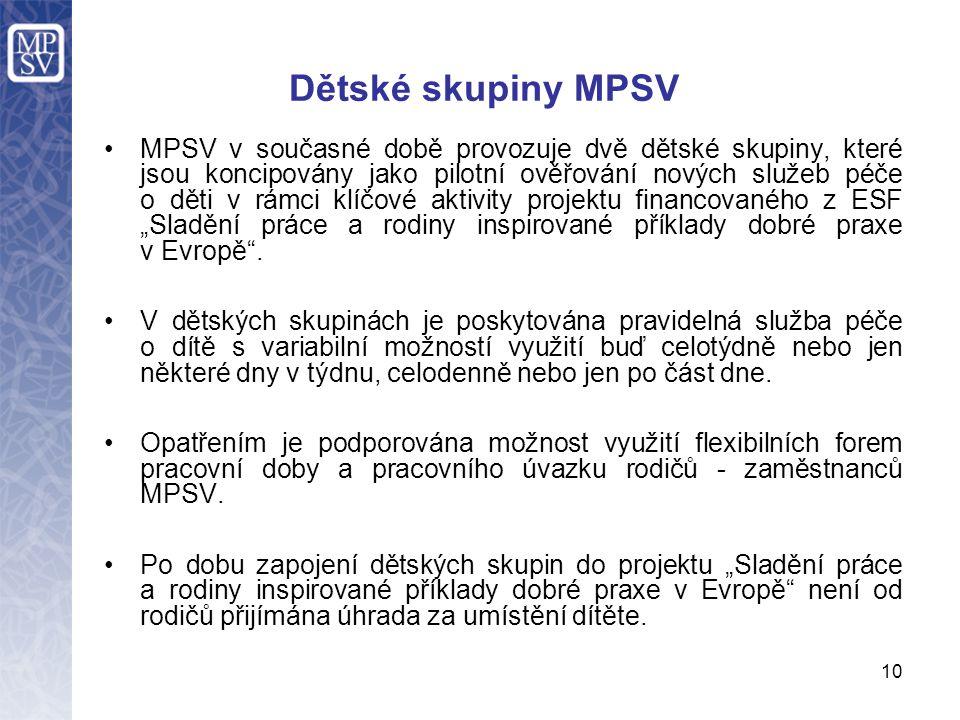 Dětské skupiny MPSV