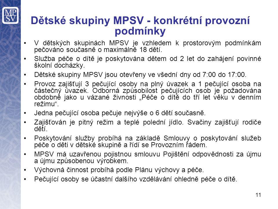 Dětské skupiny MPSV - konkrétní provozní podmínky