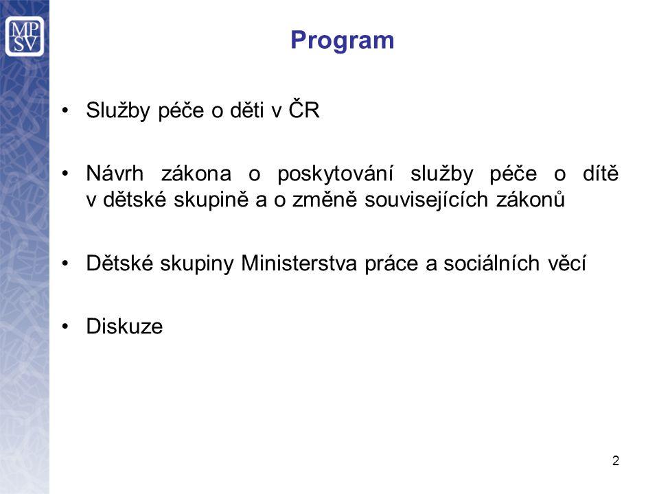 Program Služby péče o děti v ČR