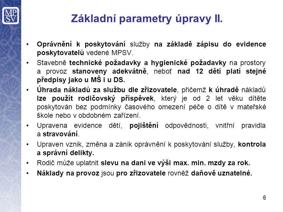 Základní parametry úpravy II.