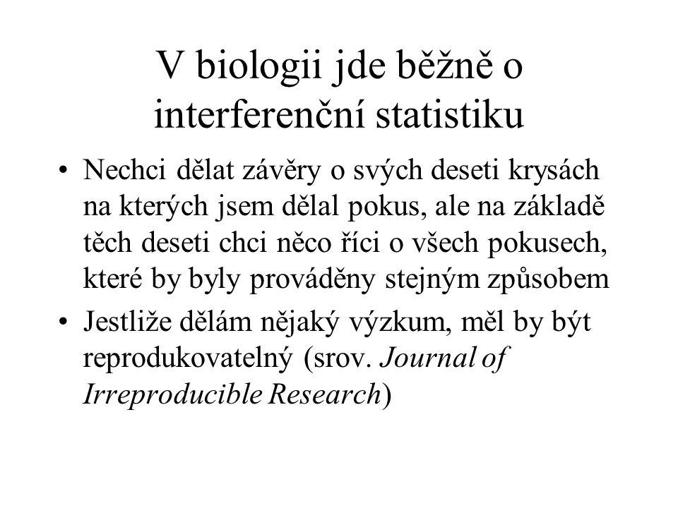V biologii jde běžně o interferenční statistiku