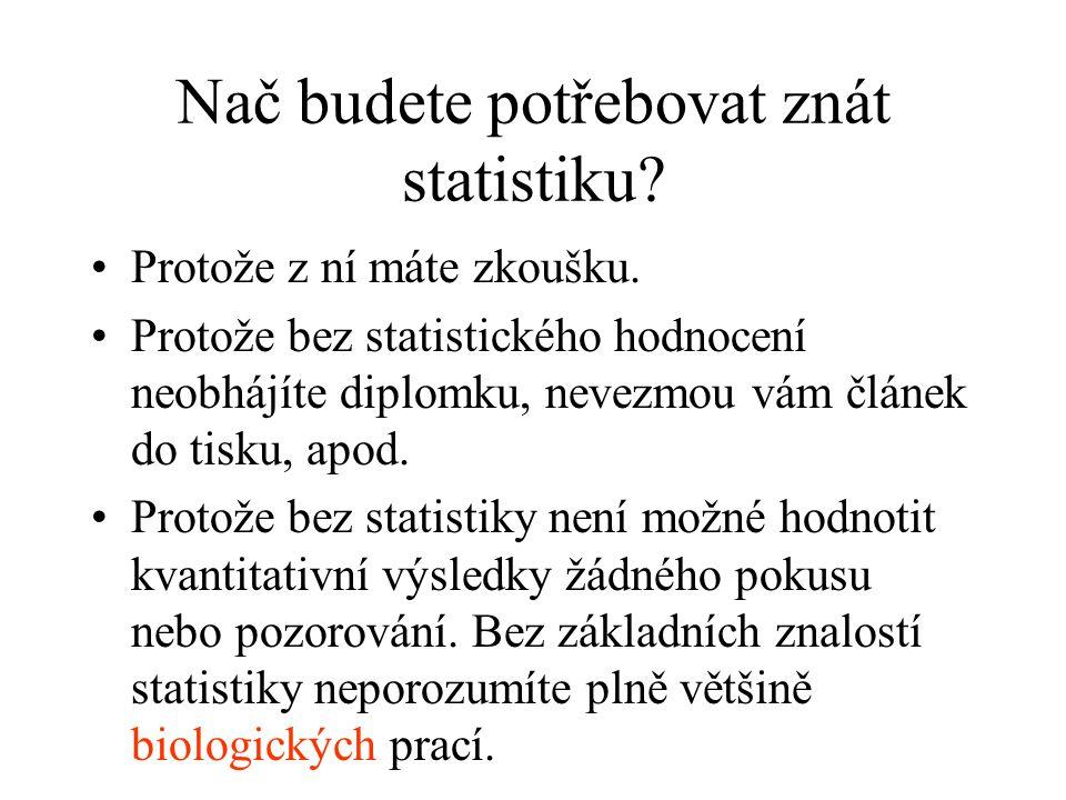 Nač budete potřebovat znát statistiku