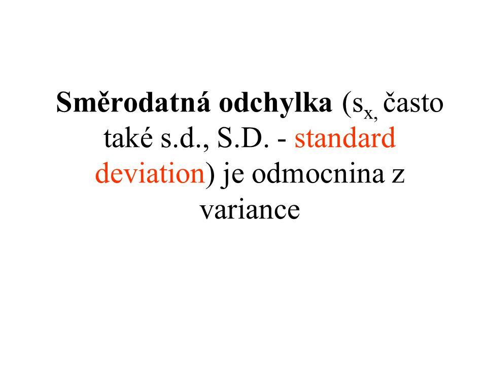 Směrodatná odchylka (sx, často také s. d. , S. D