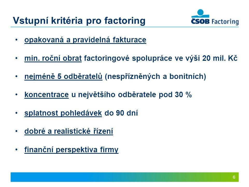 Vstupní kritéria pro factoring