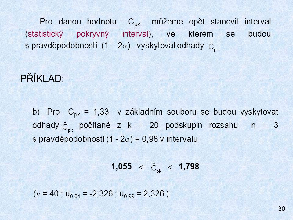 Pro danou hodnotu Cpk můžeme opět stanovit interval (statistický pokryvný interval), ve kterém se budou s pravděpodobností (1 - 2) vyskytovat odhady .