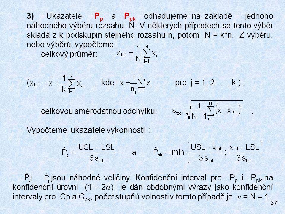 3) Ukazatele Pp a Ppk odhadujeme na základě jednoho náhodného výběru rozsahu N. V některých případech se tento výběr skládá z k podskupin stejného rozsahu n, potom N = k*n. Z výběru, nebo výběrů, vypočteme