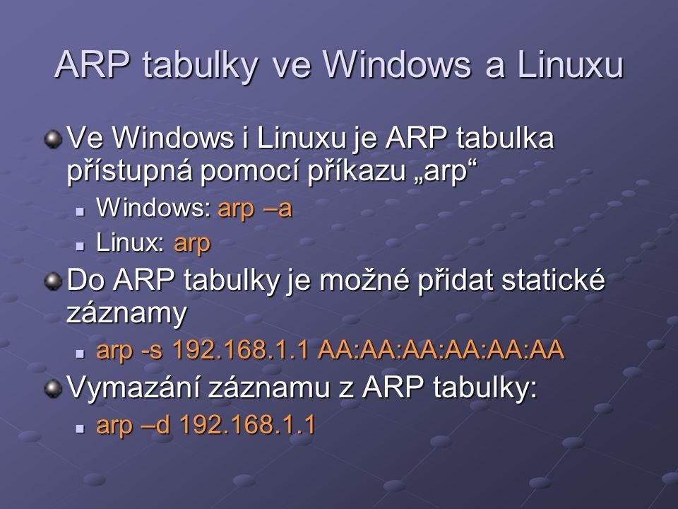 ARP tabulky ve Windows a Linuxu