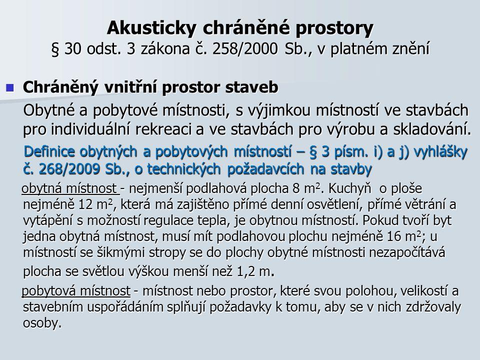 Akusticky chráněné prostory § 30 odst. 3 zákona č. 258/2000 Sb