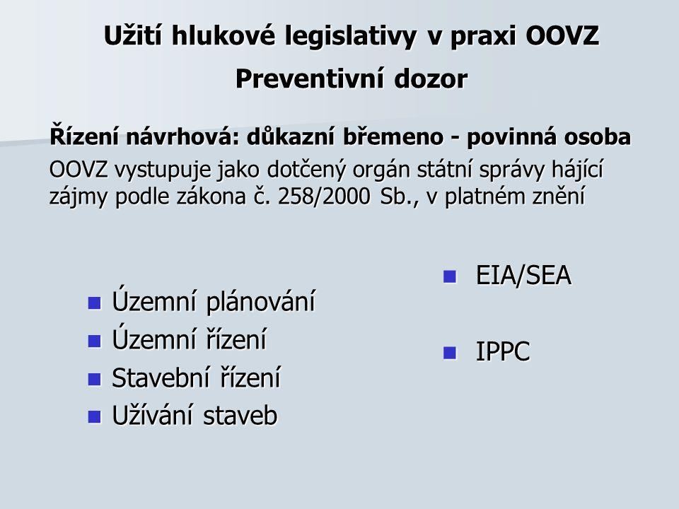 Užití hlukové legislativy v praxi OOVZ Preventivní dozor