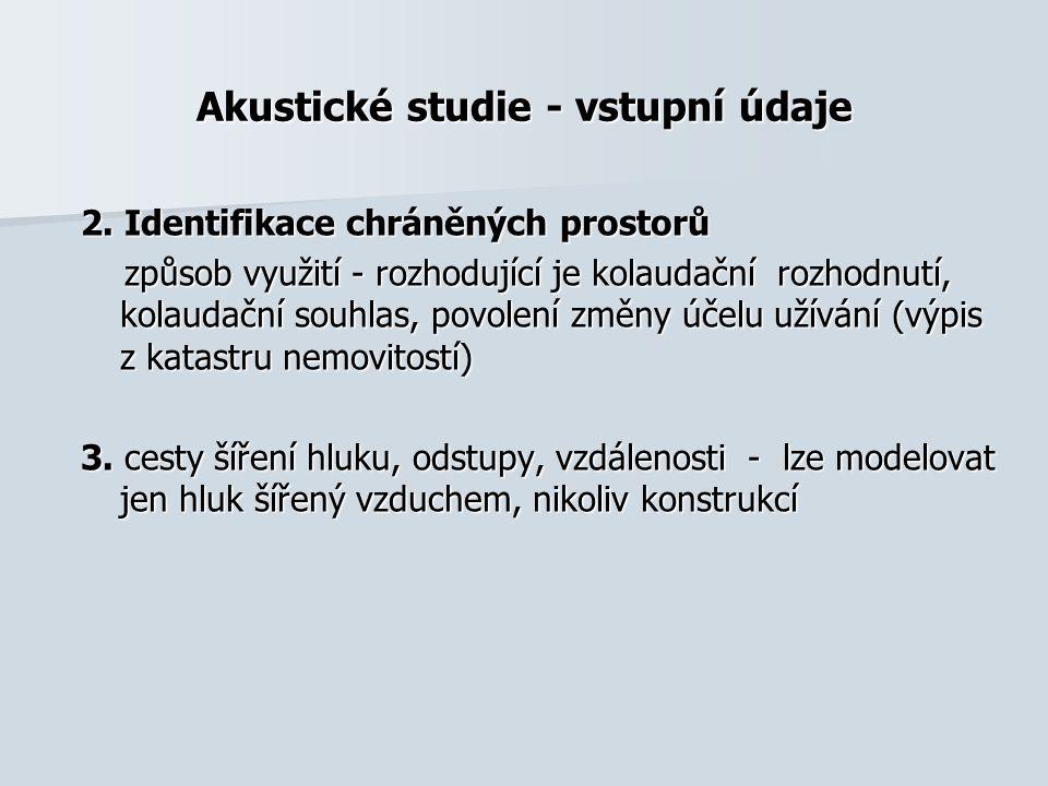 Akustické studie - vstupní údaje