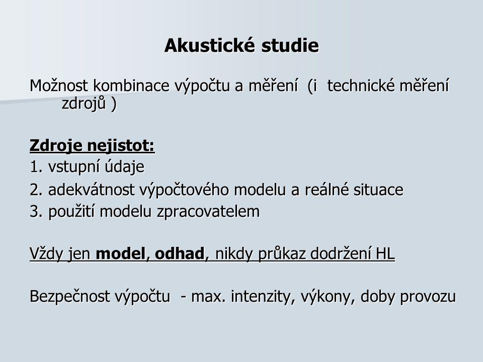 Akustické studie Možnost kombinace výpočtu a měření (i technické měření zdrojů ) Zdroje nejistot: