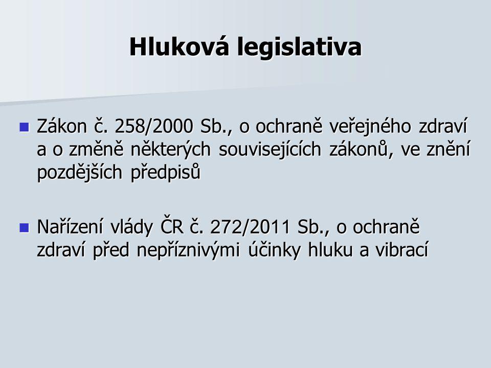 Hluková legislativa Zákon č. 258/2000 Sb., o ochraně veřejného zdraví a o změně některých souvisejících zákonů, ve znění pozdějších předpisů.