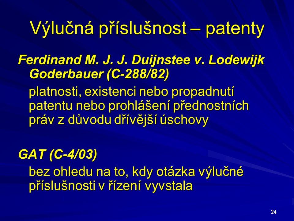 Výlučná příslušnost – patenty