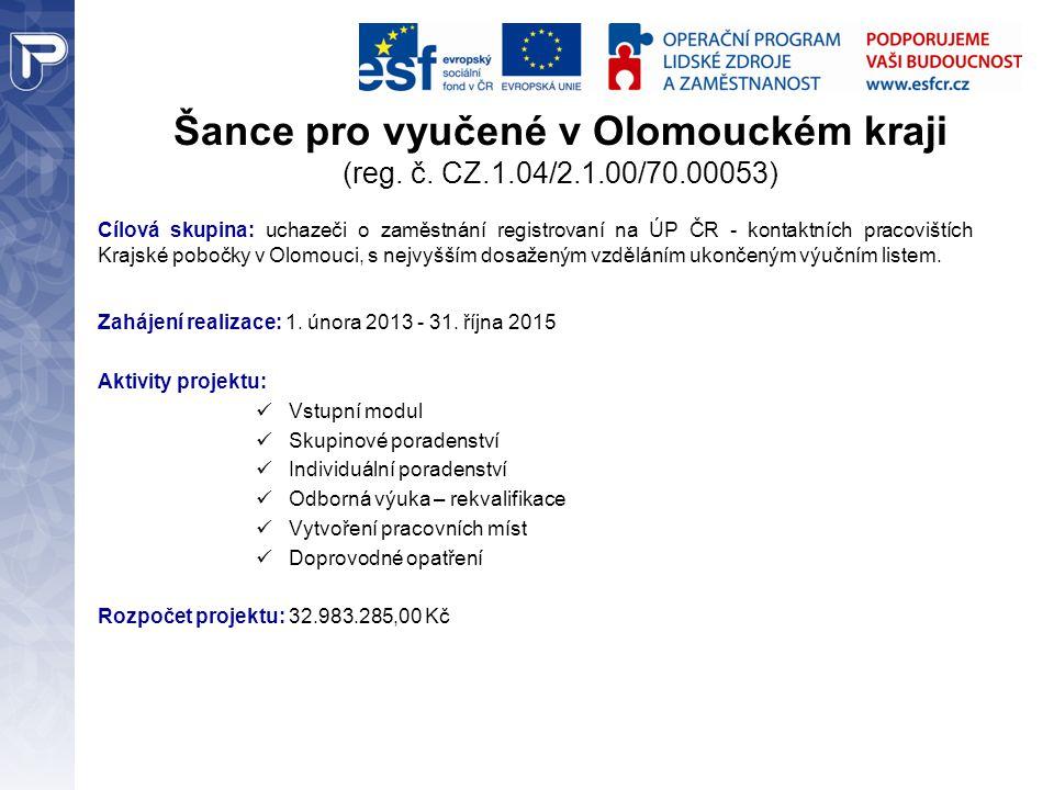 Šance pro vyučené v Olomouckém kraji (reg. č. CZ.1.04/2.1.00/70.00053)