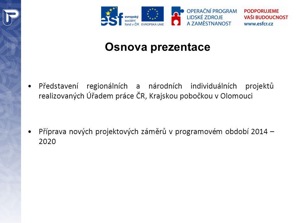 Osnova prezentace Představení regionálních a národních individuálních projektů realizovaných Úřadem práce ČR, Krajskou pobočkou v Olomouci.