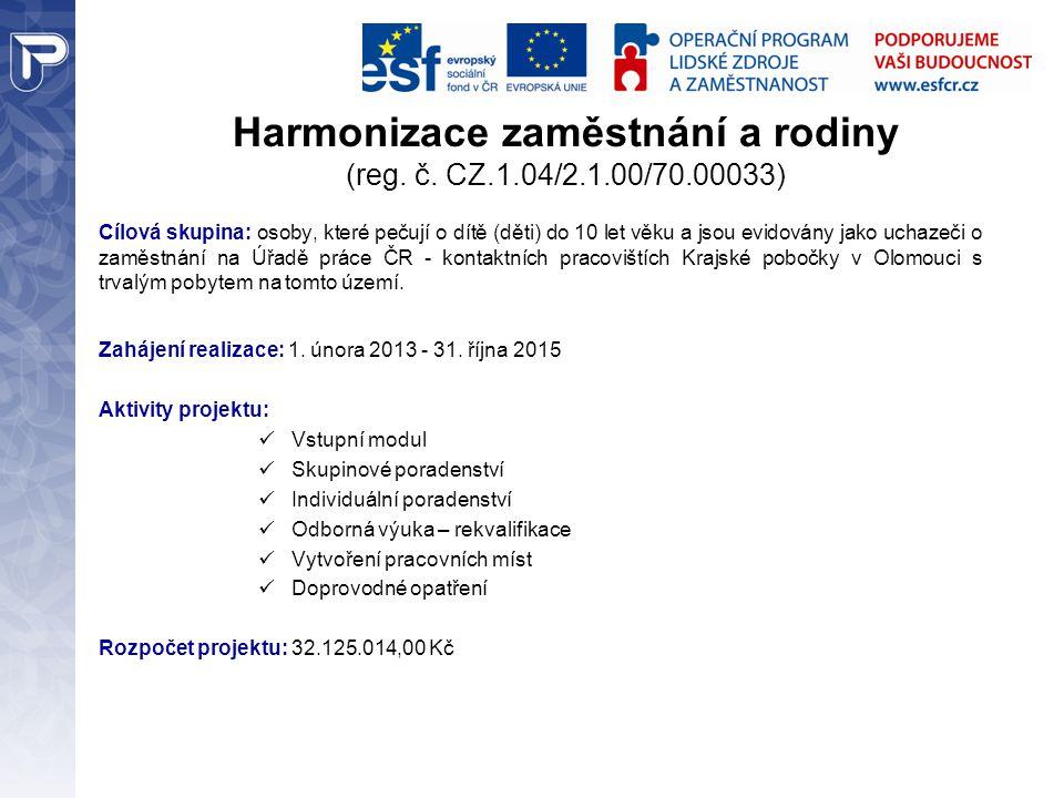 Harmonizace zaměstnání a rodiny (reg. č. CZ.1.04/2.1.00/70.00033)