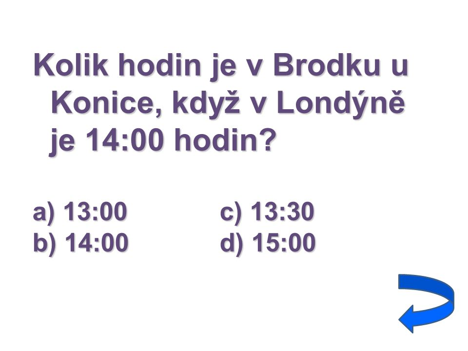 Kolik hodin je v Brodku u Konice, když v Londýně je 14:00 hodin