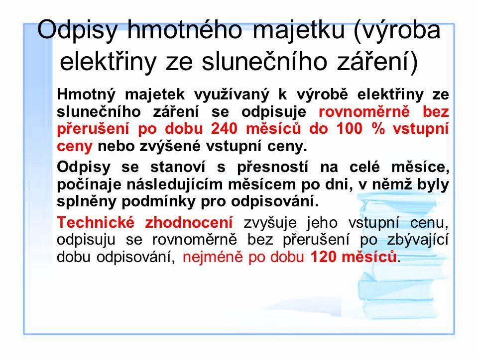 Odpisy hmotného majetku (výroba elektřiny ze slunečního záření)