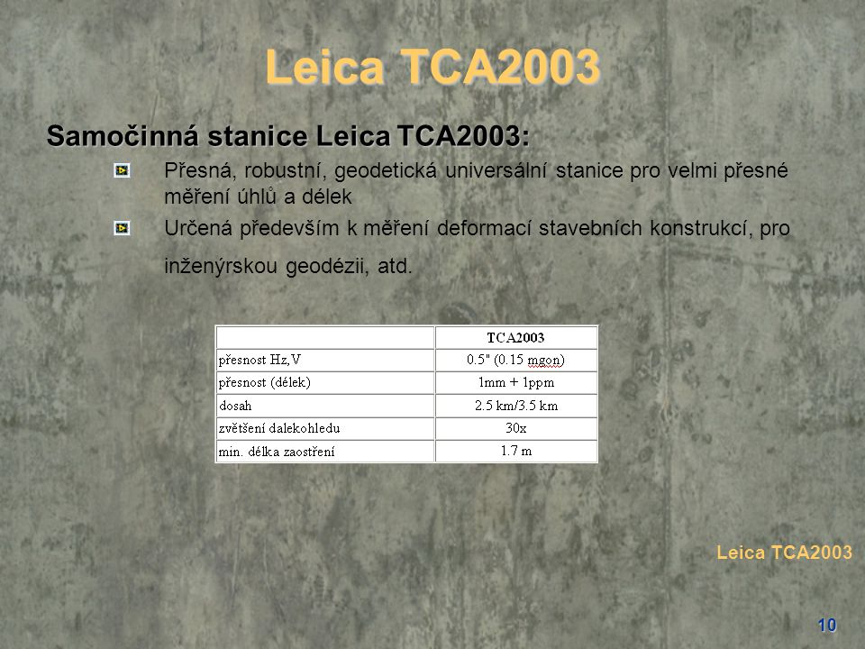 Leica TCA2003 Samočinná stanice Leica TCA2003: