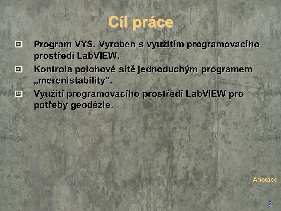 """Cíl práce Program VYS. Vyroben s využitím programovacího prostředí LabVIEW. Kontrola polohové sítě jednoduchým programem """"merenistability ."""