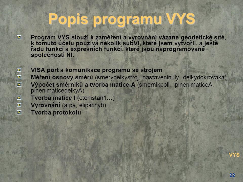 Popis programu VYS