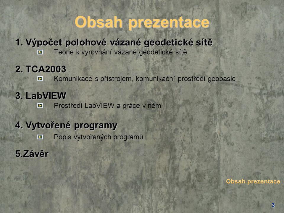 Obsah prezentace 1. Výpočet polohové vázané geodetické sítě 2. TCA2003