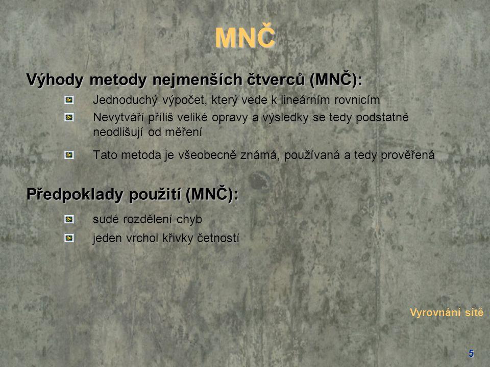 MNČ Výhody metody nejmenších čtverců (MNČ): Předpoklady použití (MNČ):