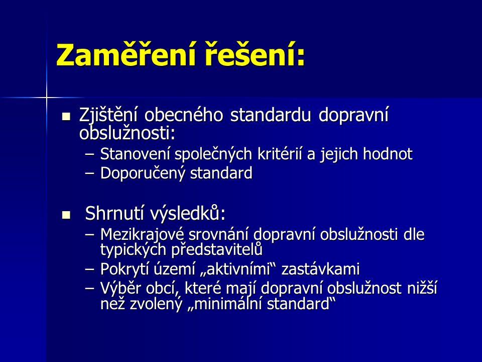 Zaměření řešení: Zjištění obecného standardu dopravní obslužnosti: