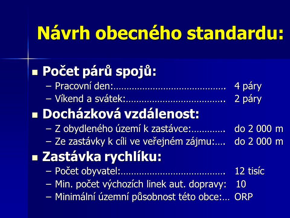 Návrh obecného standardu: