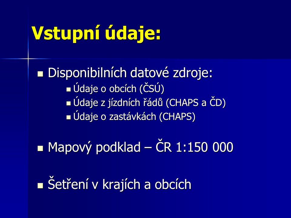 Vstupní údaje: Disponibilních datové zdroje: