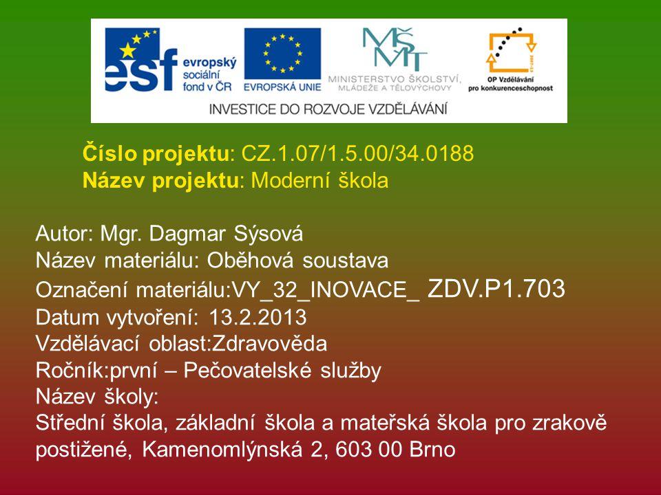 Číslo projektu: CZ.1.07/1.5.00/34.0188 Název projektu: Moderní škola. Autor: Mgr. Dagmar Sýsová. Název materiálu: Oběhová soustava.