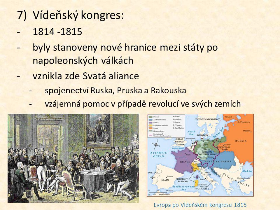 Vídeňský kongres: 1814 -1815. byly stanoveny nové hranice mezi státy po napoleonských válkách. vznikla zde Svatá aliance.