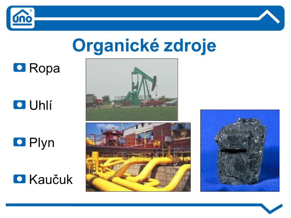 Organické zdroje Ropa Uhlí Plyn Kaučuk