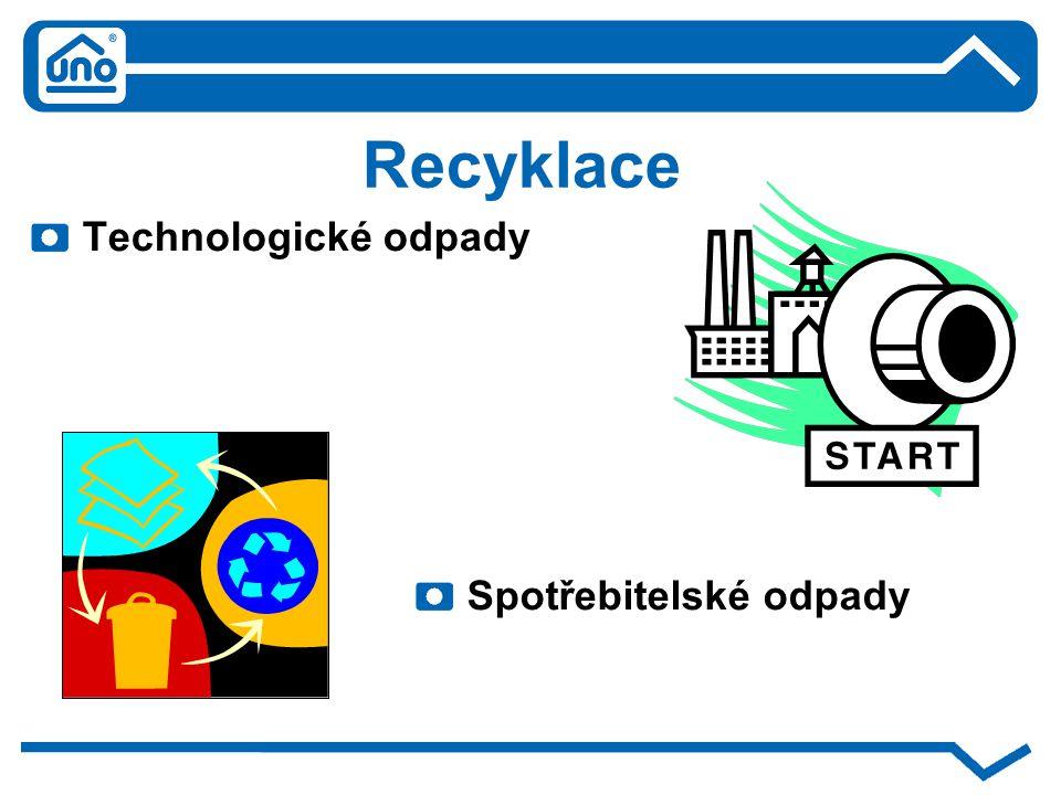 Recyklace Technologické odpady Spotřebitelské odpady
