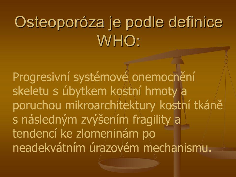 Osteoporóza je podle definice WHO: