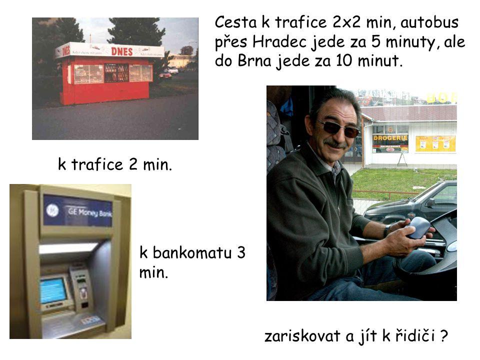 Cesta k trafice 2x2 min, autobus přes Hradec jede za 5 minuty, ale do Brna jede za 10 minut.