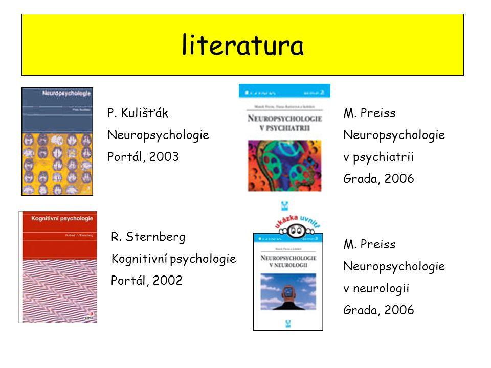 literatura P. Kulišťák Neuropsychologie Portál, 2003 M. Preiss