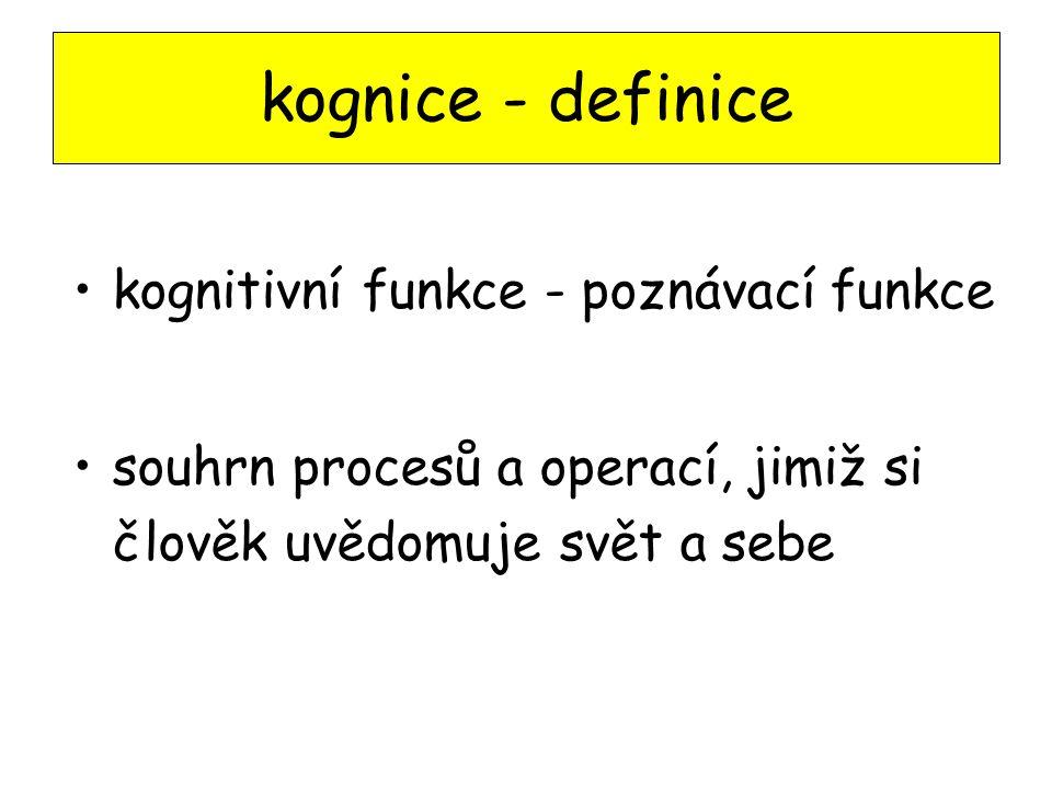 kognice - definice kognitivní funkce - poznávací funkce