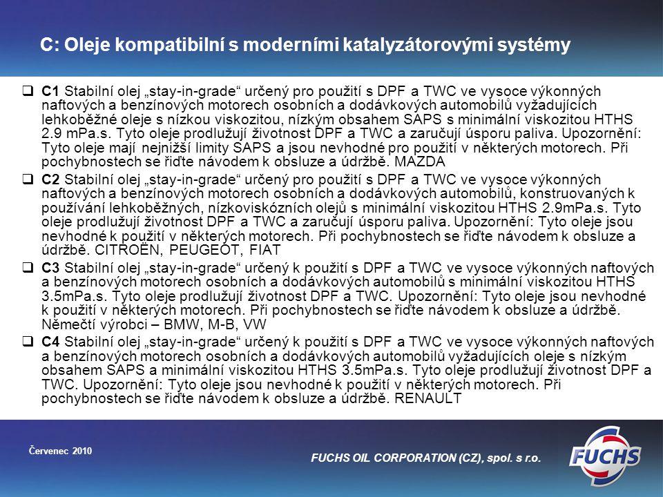 C: Oleje kompatibilní s moderními katalyzátorovými systémy