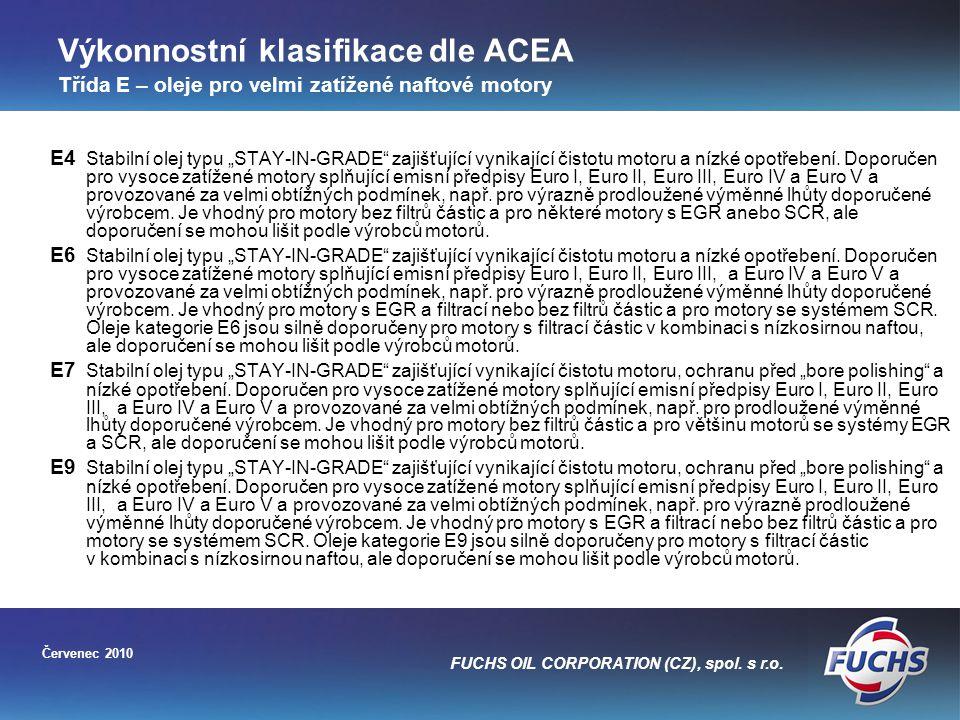 Výkonnostní klasifikace dle ACEA Třída E – oleje pro velmi zatížené naftové motory