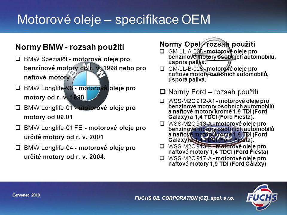 Motorové oleje – specifikace OEM