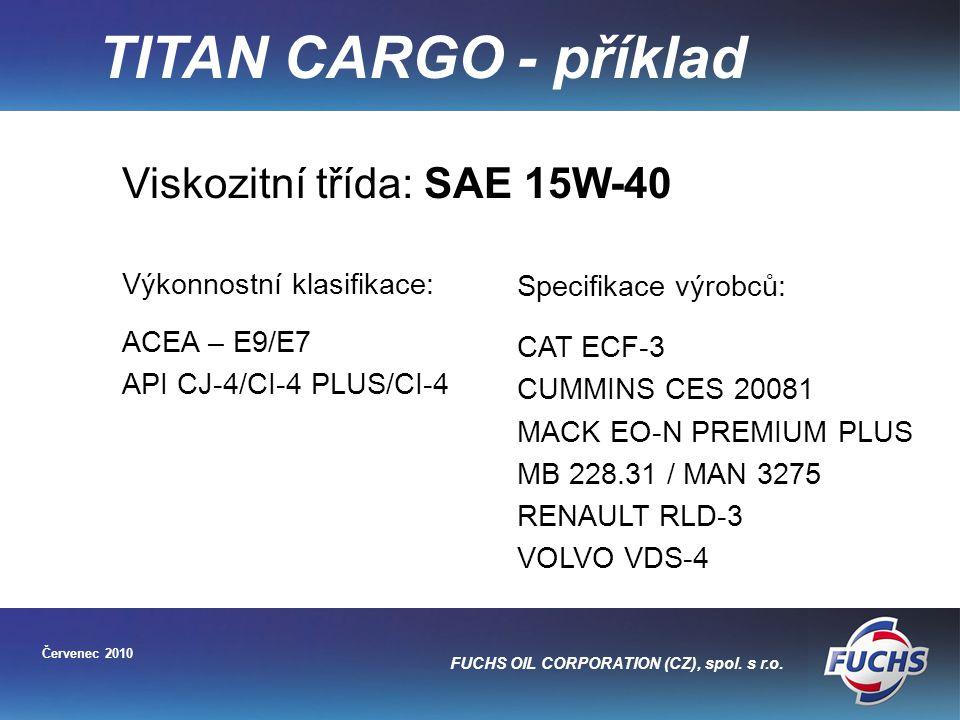 TITAN CARGO - příklad Viskozitní třída: SAE 15W-40