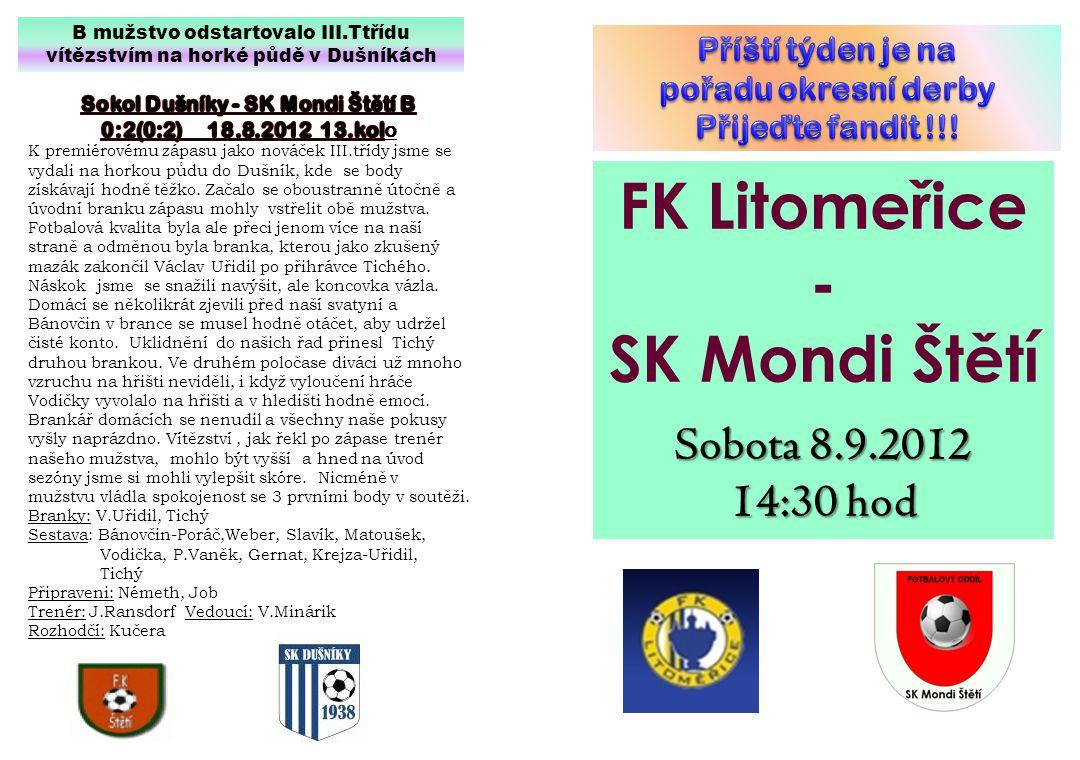FK Litomeřice - SK Mondi Štětí